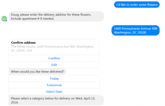 Facebook Chatbot providing customer service through artificial intelligence