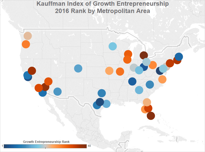 cities with most startup growth and entrepreneurship according to the Kauffman Index