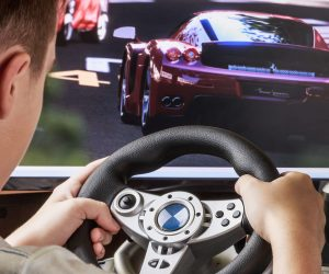driving video game played by child