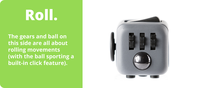 Fidget Cube with gears and a smooth roller ball