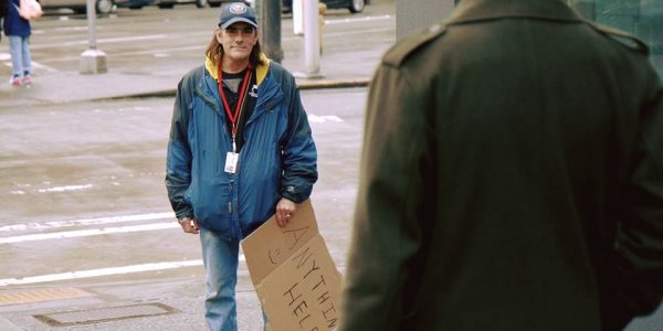 homeless man who may be helped by the GiveSafe app