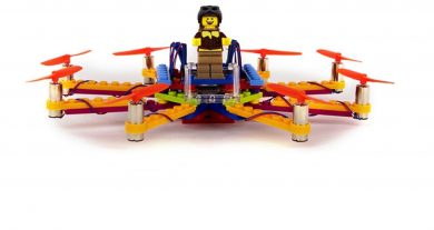 Lego drone built using Flybrix kit