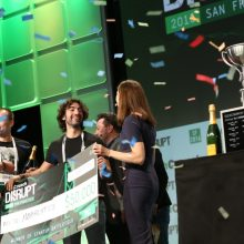 celebrations on stage at TechCrunch Disrupt SF in 2016