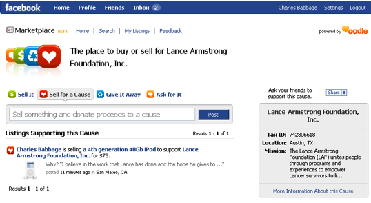 Facebook Marketplace benefiting the Lance Armstrong Foundation